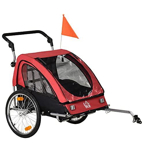 HOMCOM 2 in 1 Kinderanhänger Fahrradanhänger Kinderwagen mit Aufbewahrungstasche zweilagige Stahlrohrverschachtelung Metall Oxford Rot+Schwarz 160 x 84 x 106 cm