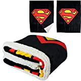 JPI Superman Shield Soft Micromink Sherpa Blanket - Throw Size - Dual Sided Micromink Front and Back Plush Sherpa, 50'x60' - for Baby Cribs, Sofa, Beds, Picnic, Travel, Camping