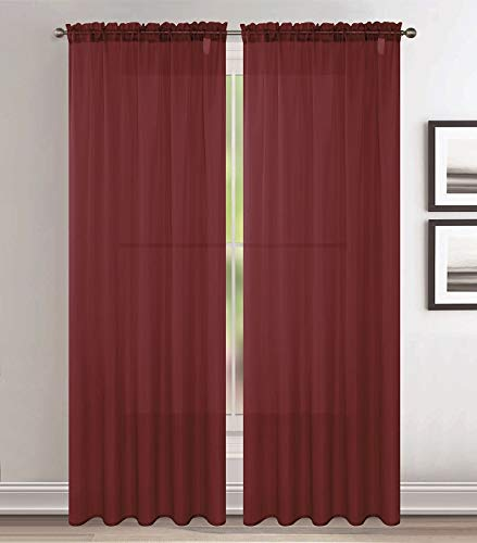Jody Clarke 2pc Set Sheer Voile Window Treatment Rod Pocket Curtain Panels for Bedroom and Living Room Assorted Colors & Sizes Solid Stitched & Hemmed(Burgundy, 2PC 54 X 63)