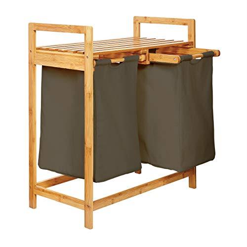 Lumaland Estantería de baño en Bambú con cesto para la Colada - Cesta para Ropa Sucia con 2 compartimientos extraibles - Mueble para el lavadero - 73 x 64 x 33 cm - Verde Oliva