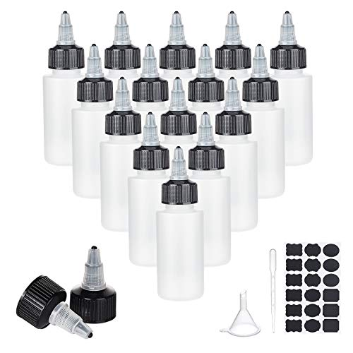 PandaHall 20 botellas de plástico para apretar de 60 ml. Bote aplicador vacío con tapones de torsión. Botellas de dispensación con adhesivo, pipetas y tolva a embudo para el cabello, aceite, líquidos