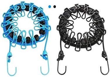 Funmo - Tendedero portátil de 2 Paquetes con 12 Pinzas para la Ropa, tendedero retráctil portátil Ajustable, Uso en el Exterior, en Interiores y para Viajes (Negro+Azul)