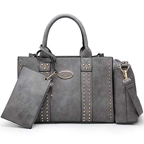 Women Vegan Leather Handbags Fashion Satchel Bags Shoulder Purses Top Handle Work Bags 3pcs Set Dark Grey