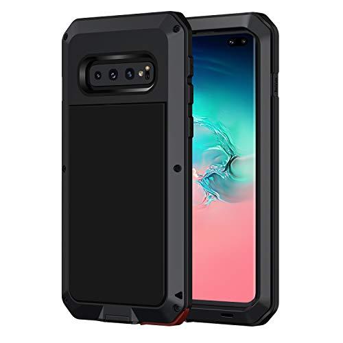 seacosmo Samsung Galaxy S10 Plus Hülle, Aluminium Stoßfest Handyhülle Doppelte Schutz Outdoor Hülle Robust Schutzhülle für Samsung Galaxy S10+, Schwarz