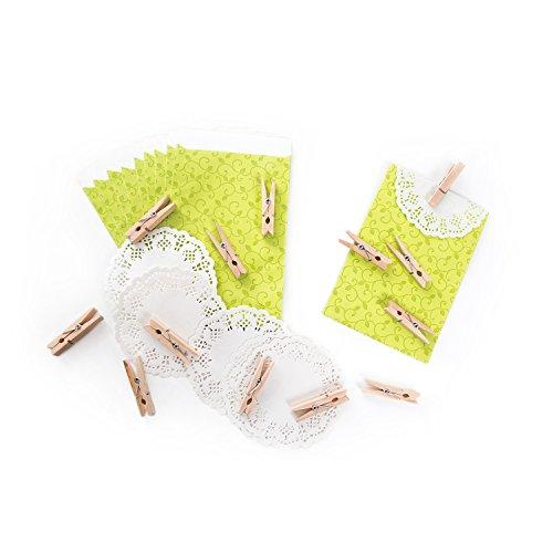 20sacchetti regalo con motivo nodi? Verde (9,5x 14cm) con pizzo e piccole decorativo in legno di? Per Punti Metallici liebevolle regali e piccolo regalo di natale, matrimonio, compleanno e più