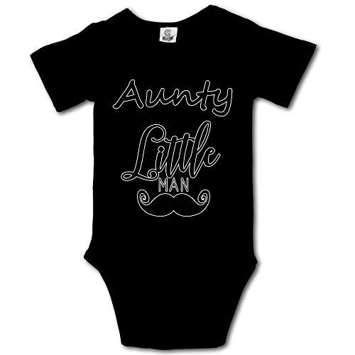 WlQshop - Pagliaccetto a maniche corte con scritta 'Aunty Little Man' Nero  18 Mesi
