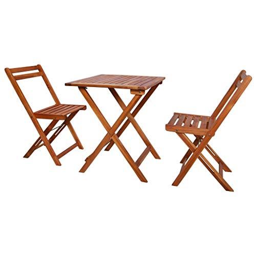 yorten Garten-Bistro-Set 3-TLG. Klapptisch und Stuhl Set Holztisch und Stuhl Gartengruppe Essgruppe 1 Tisch und 2 Klappstühle Akazie Massivholz für Garten oder Terrasse
