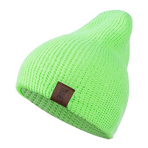 GUOQUN-SHOP Gorro Invierno Casual Sombrero Unisex Gorra Gorros Hombres Mujeres cálido Hecha de Gorro de Punto Clásico (Color : Fluorescent Green, Size : One Size)