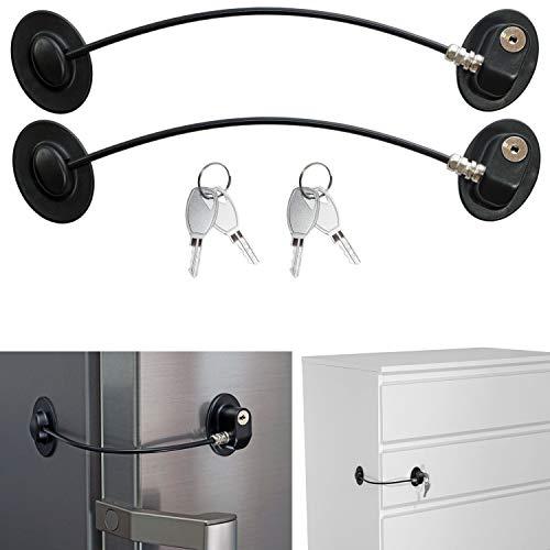 Sicherung für Kühlschrank, Schrank und Türen, 2er Pack, abschließbares Klebeschloss, mit Schlüsselschloss, Kindersicherung zum Kleben, stabiles Drahtseil, Rückstands-los entfernbar, für Haushalt