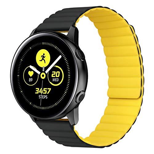 MroTech Compatible con Samsung Galaxy Active/Active2 40mm/44mm/Galaxy Watch3 41mm/Galaxy 42mm Correa 20mm Silicona Pulseras Repuesto para Huawei Watch GT 2 42 mm Banda Hebilla Magnética-Negro/Amarillo