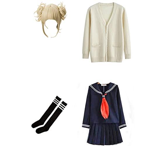 Anime My Hero Academia Cosplay disfraz Boku No Hero Academia Himiko-Toga JK uniforme peluca mujeres suéteres de marinero