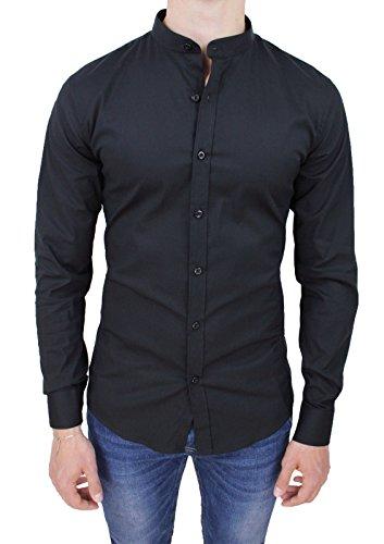 Camicia Uomo Slim Fit Nera Casual in Cotone con Colletto Coreano (L)