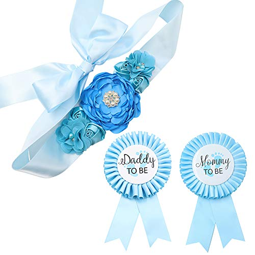 Sky Blue Maternity Sash & Mommy Daddy Corsage Kit - Baby Shower Sash Baby Boy Pregnancy Sash Keepsake Baby Shower Flower Belly Belt