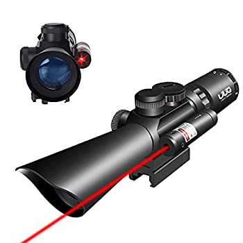 UUQ Tactical 3.5-10X40 Illuminated Red/Green Mil Dot Rifle Scope W/Red Laser Sight Fit 20mm Picatinny Rail