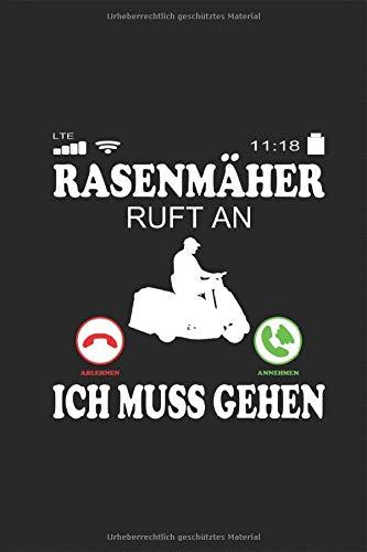 Rasenmäher ruft an Spruch Lustiger Telefon Notizbuch: Rasen mähen Aufsitzrasenmäher Garten...