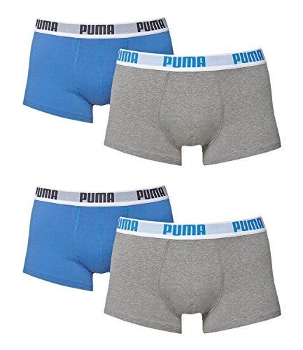PUMA Herren BASIC Shortboxer Boxershort Unterhose 4er Pack grau/blau/grau/blau 417 - S