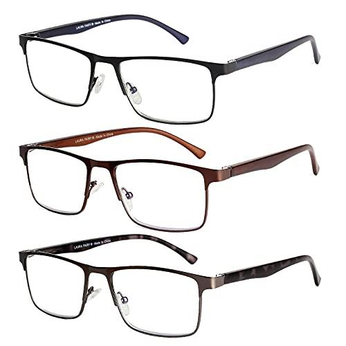 3 Pack Reading Glasses Blue light Blocking for Men and Women, 1.5 Lightweight Metal Frame Reader with Spring Hinge