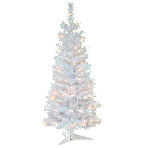 National Tree Company Pre-lit Artificial Christmas Tree | Includes Pre-strung White Lights and Stand | White Iridescent Tinsel - 4 ft