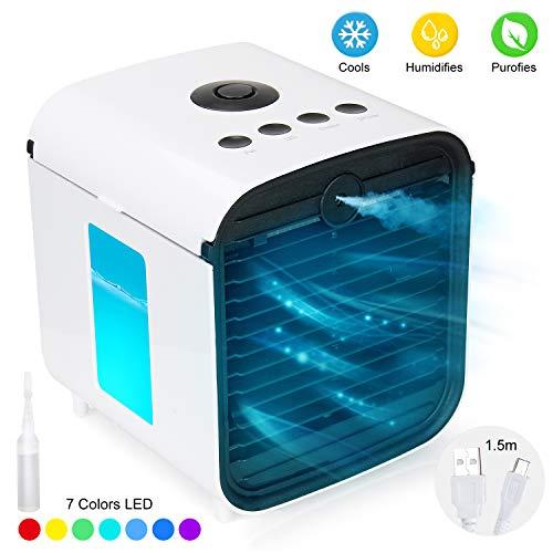 UBEGOOD Mini Luftkühler, Air Cooler Klimagerät tragbarer Mini-Klimaanlagenlüfter 3 Leistungsstufen USB Kühler 7 Farben Mobile Klimageräte Luftbefeuchter für Home Office Auto im Freien.