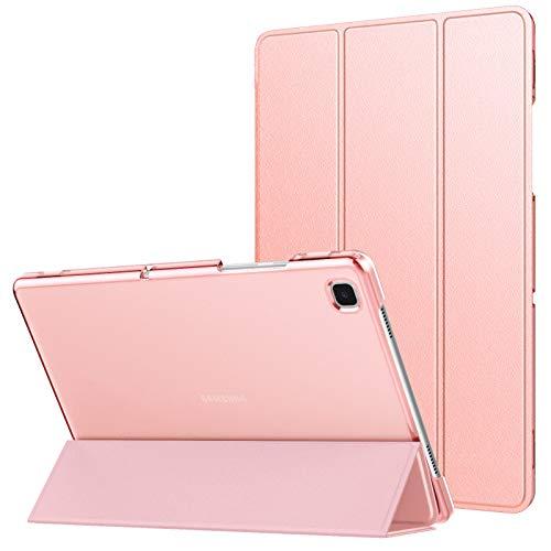 MoKo Funda Compatible con Samsung Galaxy Tab A7 10.4' 2020 SM-T500/T505/T507, Delgada Cubierta Estuche Inteligente con Soporte Plegable Función Auto Reposo/Estela Trasera Transparente, Oro Rosa