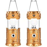 Solar Camping Lights 2 Packs, USB Direct Charge Ultra Bright LED Collapsible Water Resistant Lanterns Flashlights
