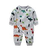 Kobay-Baby Neugeborenes Baby Boy Dinosaurier Print Overall Spiel Kleidung Säuglinge Kleinkinder Jungen und Mädchen Langarm Dinosaurier Print Overall (0-4Y)