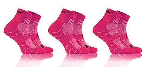 Sesto Senso Calcetines Deporte Colores Mujer Hombre Algodón 3 Pares 35-38 Pink