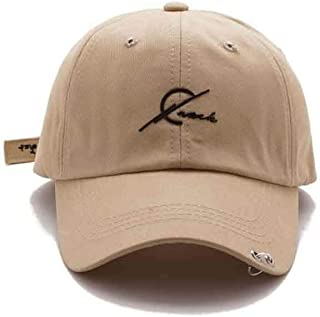Summer Casual Baseball Cap for Girls, Yellow Men's Wild Letter Embroidered Cap,Beige