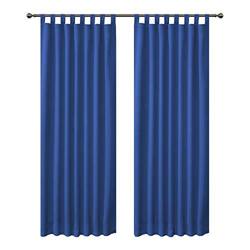 FLOWEROOM Cortinas opacas con trabillas para dormitorio, 290 x 140 cm (alto x ancho), color azul real – cortina térmica / cortina opaca con reducción de ruido, 2 unidades