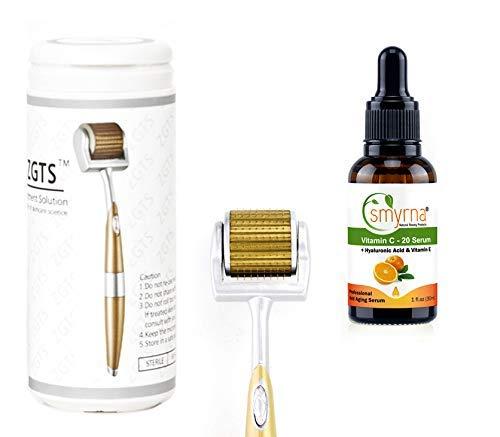 ZGTS Derma Roller Hautpflege Kosmetik Mikrodermabrasion Instrument Titan Mikro-Nadel + Vitamin C Serum, Hyaluronsäure für Falten inklusive kostenloser Aufbewahrungstasche (0,5 mm)
