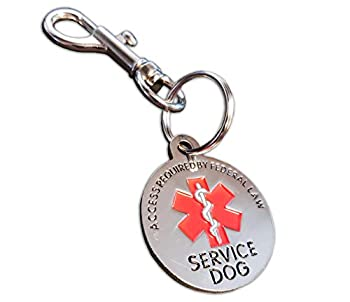 ActiveDogs Double Sided Service Dog Chrome Tag ADA Access Required by Federal Law Clip Tag w/ Red Medical Alert Symbol - 1.25
