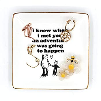 Classic Inspirational Winnie The Pooh Quotes and Saying Ring Jewelry Holder Dish for Sister Friends Girl Daughter Room Bedroom Decor