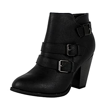 Forever Buckle Strap Block Heel Ankle Womens Leather Boots
