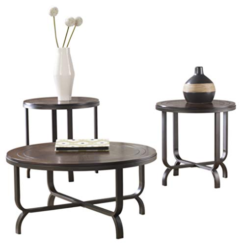 Signature Design by Ashley - Ferlin Circular Occasional Table Set - Includes Table & 2 End Tables,...