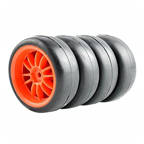 VSKTE RC Los Juegos de Ruedas de los neumáticos de Carreras Slick Aptos para HSP HPI 1/10 1.10 Auto turístico (Color : Red Wheel)