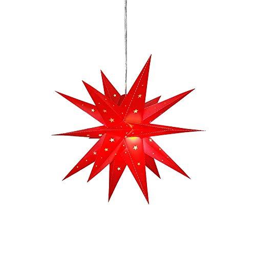 Außenstern rot led beleuchteter Stern ca. 58 cm Weihnachtsstern Leuchtstern Faltstern, IP44 wetterfest Garten Deko