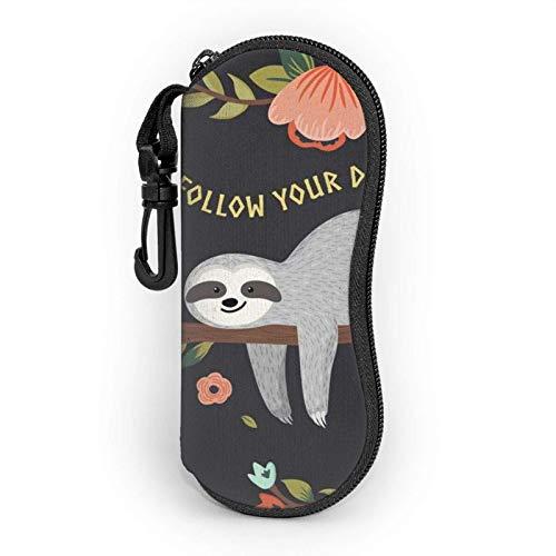 AOOEDM Estuche blando para gafas de sol verde de bambú, Estuche para lentes con cremallera y clip para cinturón