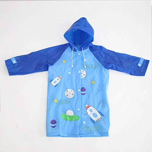 Vestes anti-pluie QFF Child Raincoat Boys and Girls Student Poncho Souple Outdoor Leisure Rain Gear (Couleur : Bleu, Taille : M)
