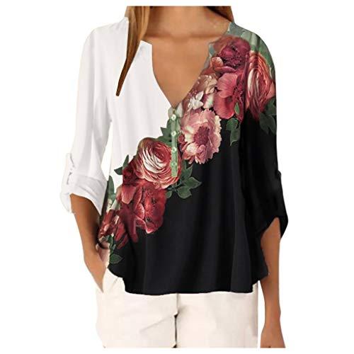 Yowablo Bluse T-Shirt Frauen Casual Tops Shirt Damen V-Ausschnitt Blumendruck Loses T-Shirt ( 5XL,1Weiß )