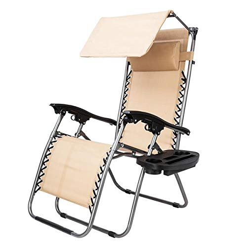 Simonseason Lounge Chairs, Zero Gravity Lounge Patio Chair with Awning Leisure Chair, Durable Chairs Widened Folding Chair Leisure Chair for Pool Side Outdoor Yard Beach Deck - Khaki