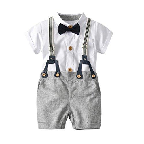 PAOLIAN Conjuntos para Bebe niños Camisas y Pichi Verano 2018 Ropa para recién Nacidos Bebe niños Boda Monos Fiestas Pajarita Bautizo Bodies de 12 Meses 18 Meses 24 Meses 3 años (18M, Blanco)