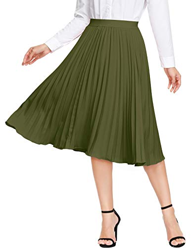 Plus Size Vintage Skirts for Women Elastic High Waisted A Line Midi Long Skirt (Army Green,XXL)