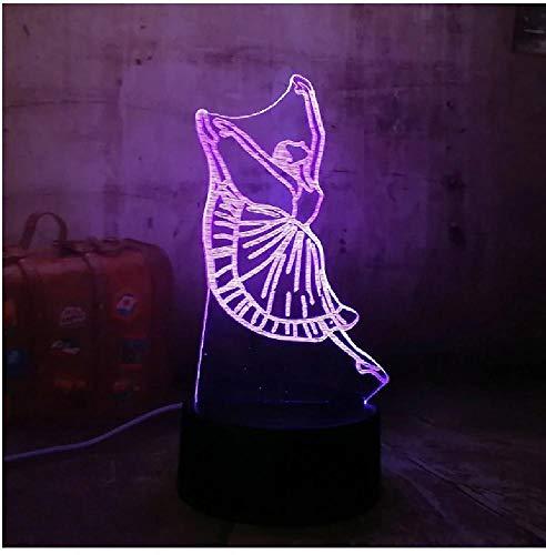 Hermosa chica Dacing Ballet juguetes iluminación Led romántico acrílico 3D Rgb luces de noche lámpara de escritorio Usb decoración de habitación juguetes para niñas