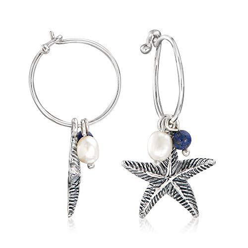 Ross-Simons Cultured Pearl and Lapis Starfish Hoop Drop Earrings in Sterling Silver