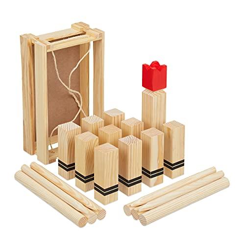 Relaxdays Wikingerspiel, Holz Wurfspiel...