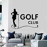 HGFDHG Club de Golf calcomanías de Pared Juegos Deportivos Chicas Hobby golfistas habitación decoración de Interiores Puertas Ventanas Pegatinas de Vinilo Silueta Arte Papel Tapiz