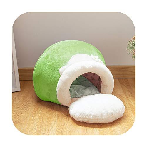 KASHINO Cama para gatos de invierno cálida de felpa, portátil, plegable, linda casa de gato, cueva, saco de dormir, cojín grueso para mascotas, gatitos, productos verde-M-62 x 38 x 31 cm
