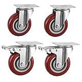 anyke ruote per il trasporto industriale ruote rotelle girevoli per sedie da ufficio ruote per mobili carrelli (rosso 100mm (4) - doppio cuscinetto)