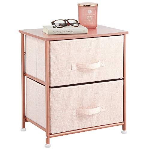mDesign Mesita de noche con 2 cajones – Cómoda pequeña hecha de tela, metal y MDF – Decorativas cajoneras para armarios, para el dormitorio o el salón – rosa claro/dorado rojizo