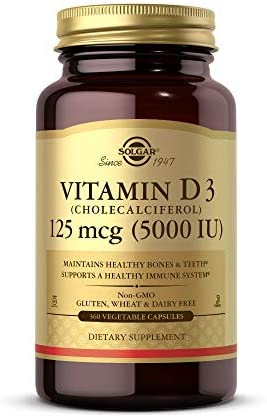 Solgar Vitamin D3 (Cholecalciferol) 125 mcg (5,000 IU) Vegetable Capsules - 240 Count